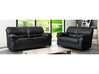 NEW LEATHER 3+2 SOFA BLACK OR BROWN