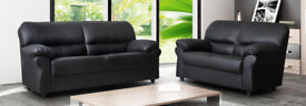 TODAY ONLY last few leather 3+2 sofas brand new chocolate brown OR BLACK 329EBDCB