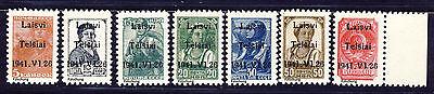 """Litauen """" Telschen """" Freimarken1941 Mi# 1-7 Typ I (*) REPRINT Fälschung"""