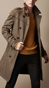 Burberry Brit Mid-Length Wool Tweed Trench Coat- XS, Brand New