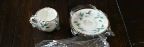 Mikasa RIBBON HOLLY 5 CUPS & SAUCERS Berries Gold Edging NEW
