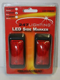 247 LIGHTING CA6094WT 2 x RED LED SIDE MARKER LAMPs 12/24V L@@K BOAT VAN TRUCK.*