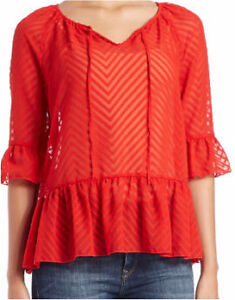 New Kensie Red Tie-neck Ruffle Blouse Kingston Kingston Area image 2