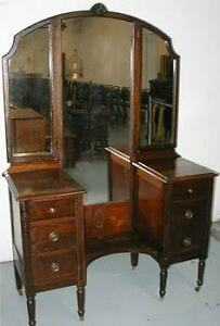Antique 3 way mirror dressing stand