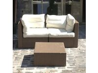 Ikea Arholma Rattan Style 2 Sofas x 2-Seaters with custions and one Table