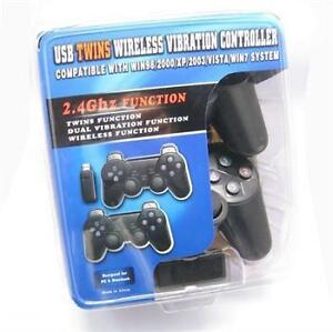 2 x 2.4G USB Wireless Dual Vibration Gamepad Controller manette