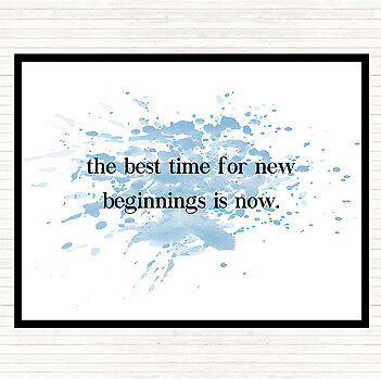 Blue White Best Time For New Beginnings Inspirational Quote Mouse Mat