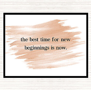 Watercolour Best Time For New Beginnings Quote Mouse Mat