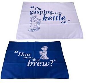 Pair Of Tetley Tea Towels Sydney & Stanley | Blue & White