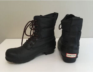 NEW HUNTER Women Original Short Quilted Lace-Up Boot Black US 8