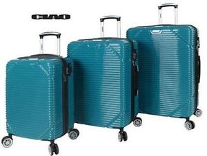 NEW CIAO TROY SPINNER 3PC LUGGAGE TEAL SUITCASE HARDSIDE TRAVEL GEAR BAG