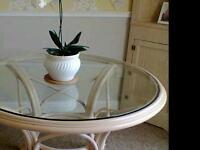 Wooden glass top table