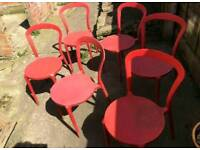 6 Red Cafe Chairs