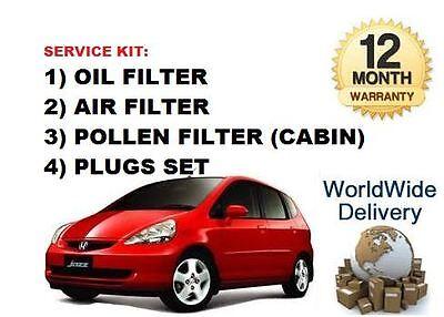 FOR HONDA JAZZ 1.2 iDSi 2004-2008 SERVICE KIT OIL AIR POLLEN FILTER SET + 8 PLUG