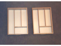 Brand new 2 wooden cutlery trays