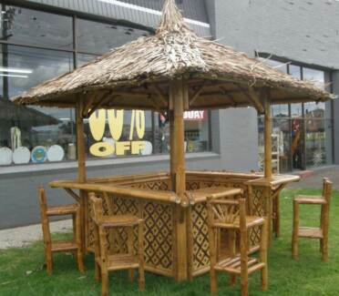 BALIHUT  DESIGNED AS  BAR WITH  6 STOOLS IMPORTED FROM BALI
