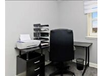 Black corner office desk and chair