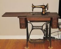 Singer antique sewing machine and cabinet