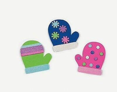 3 Mitten Foam Magnet Craft Kit with Glitter!  Full set.  Winter Fun for Kids - Winter Crafts For Kids