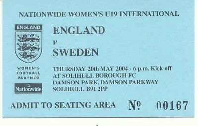 Ticket - England v Sweden - Womens U19 - 20.05.2004