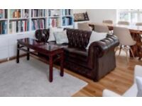 Chesterfield 3-seater sofa bed (double), dark brown leather