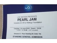 PEARL JAM TICKETS O2 19/05/18