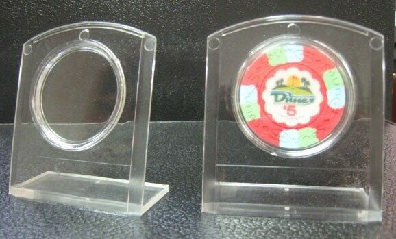 Set 5 Plastic Poker Chips Display Stands Holders with Air Tites Holds Chip *