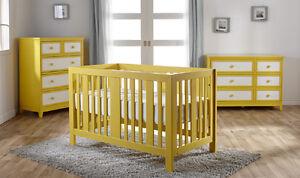 Chambre de bébé Treviso en blanc et jaune (4 mcx)