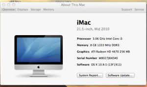 "Imac Mid 2010 21.5 ""with OSX 10.9.5"