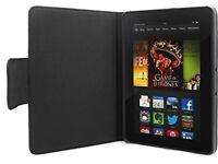 Kindle Fire HDX 7 Inch Tablet Leather Effect Folio Padded Case / Holder Black