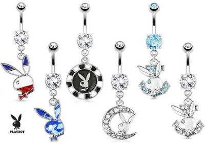 Dangling Bunny Belly Ring (Playboy Bunny Dangle Belly Ring Pierced Navel Navel)