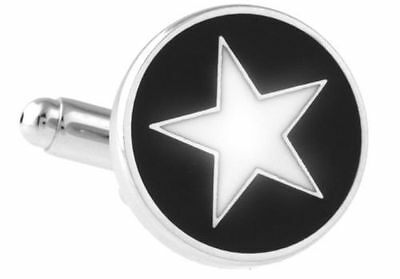 White Star Black Circle Fashion Cufflinks Wedding Groom Gift Suit Cuff Circle White Cufflinks