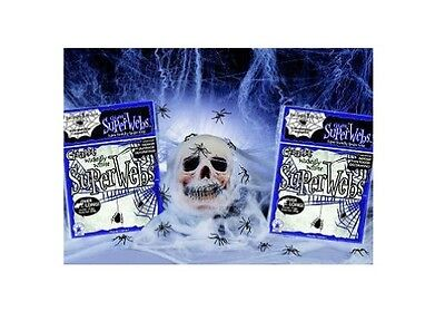 64 sq/ft Fake Spider Web Halloween Decoration Webbing Stretchable Reusable White
