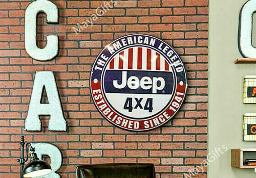 JEEP 4×4 DOME SIGN METAL DOMED SIGN TIN GARAGE MAN CAVE DECOR GIFT