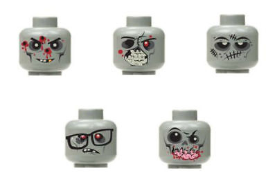 Lego Custom halloween monster zombie walking dead minifigure head grey 5pc set 2