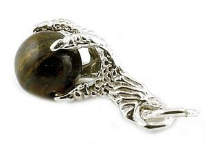 STERLING SILVER AMERICAN EAGLE'S CLAW TIGER'S EYE  CHARM