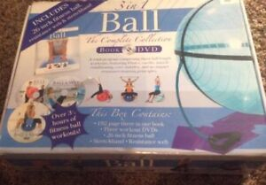 3 in 1 Exercise Ball with Book and DVD - Brand new.