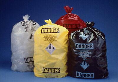 Black Printed Osha Asbestos Disposal Bags Poly 6 Mil 33 X 50 - Roll Of 50