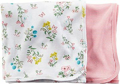 Carter's Baby Girl 2 Pack Swaddle Blankets ~ Floral & Stripes ~ 35