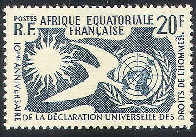 French Equatorial Africa 1958 Human Rights/Dove/Sun/UN/Animation/Birds 1v n36883