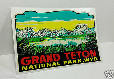 Grand Teton National Park Wyoming Vintage Style Travel Decal / Vinyl Sticker