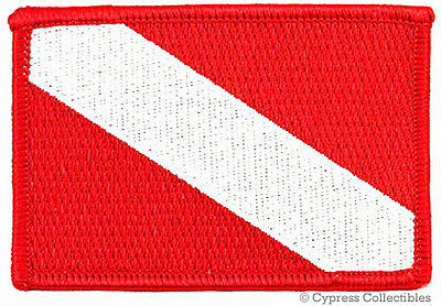 DIVER DOWN FLAG EMBROIDERED PATCH Scuba Diving Gift NEW iron-on RED EMBLEM ()