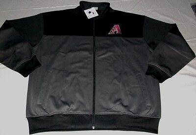 Arizona Diamondbacks Full Zip Jacket 2XL Granite Black Front Back Logos Majestic Majestic Athletic Zip Front Jacket
