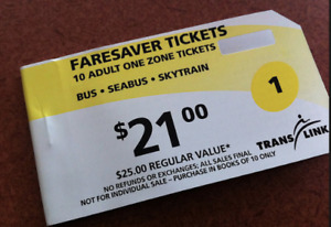 Vancouver transit Faresaver 1 zone tickets