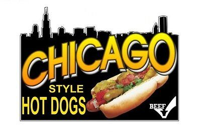 Chicago Style Hot Dogs 9x13 Decal For Hot Dog Cart - Concession Trailer Sign
