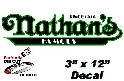 2 Nathans Famous Hot Dog 3x 12 Decals For Hot Dog Cart Or Concession Stand