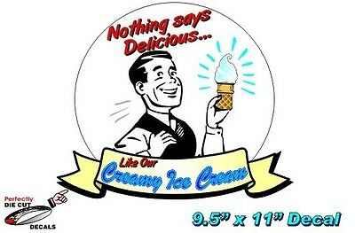 Retro Ice Cream 9.5x11 Decal For Ice Cream Parlor Or Truck Sign Or Banner