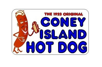 Coney Island Hot Dogs 7x12 Decal For Hot Dog Cart Or Take Out Menu