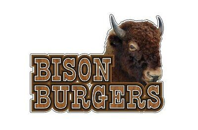 (Bison Burger 9''x13'' Decal for Concession Trailer or Buffalo Meat Business Sign)