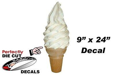 Huge Soft Serve Vanilla Cone 9x24 Decal For Ice Cream Truck - Parlor Menu